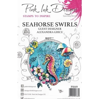 Pink Ink Designs SEAHORSE SWIRLS A5 Clear Stamps pi049