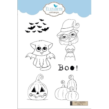 Elizabeth Craft Designs Clear Stamps HALLOWEEN PARTY cs153