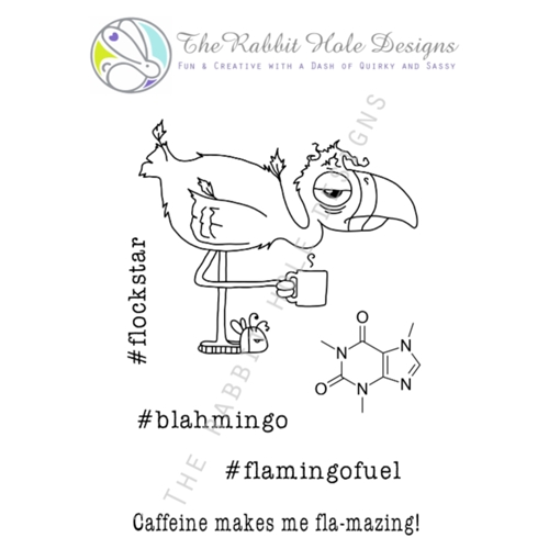 The Rabbit Hole CAFFEINATED FLAMINGO Clear Stamps TRH 08 Preview Image
