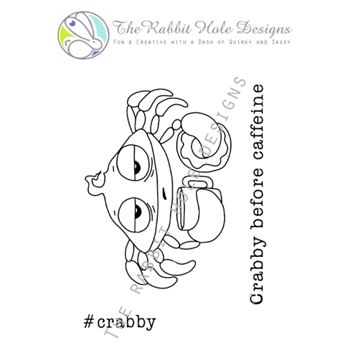 The Rabbit Hole Designs CAFFEINATED CRAB Clear Stamps TRH-09
