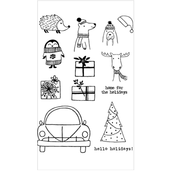 Flora and Fauna HOME FOR THE HOLIDAYS Clear Stamps 20266