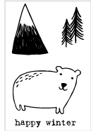 Flora and Fauna MINI WINTER POLAR BEAR Clear Stamps 20276