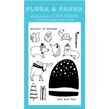 Flora and Fauna SNOW MUCH FUN SNOW GLOBE Clear Stamps 20268