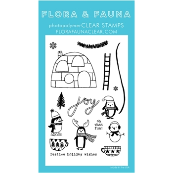 Flora and Fauna WINTER PENGUIN PARTY Clear Stamps 20265