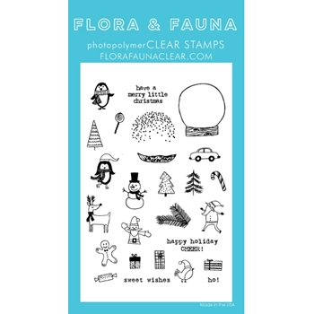 Flora and Fauna WINTER MINI SNOWGLOBE Clear Stamps 20269