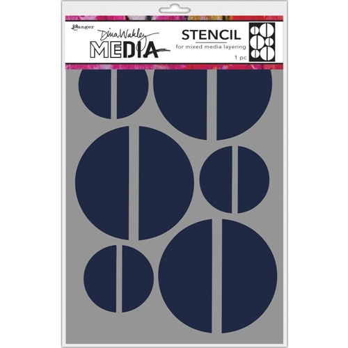 Dina Wakley LARGE HALVES Media Stencil MDS68235 Preview Image