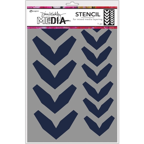 Dina Wakley LARGE FRACTURED CHEVRONS Media Stencil MDS68228 Preview Image