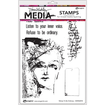 Dina Wakley REFUSE TO BE ORDINARY Media Cling Rubber Stamp MDR68594