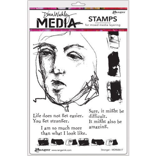 Dina Wakley STRONGER Media Cling Rubber Stamp MDR68617 Preview Image
