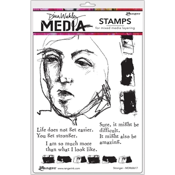 Dina Wakley STRONGER Media Cling Rubber Stamp MDR68617