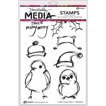 Dina Wakley SCRIBBLY HOLIDAY BIRDIE 2 Media Cling Rubber Stamp MDR68600