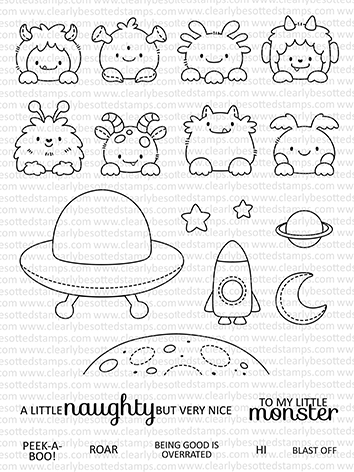 Clearly Besotted POP UP MONSTERS Clear Stamps  zoom image