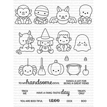 Clearly Besotted HALLOWEEN PLUSHIES Clear Stamps