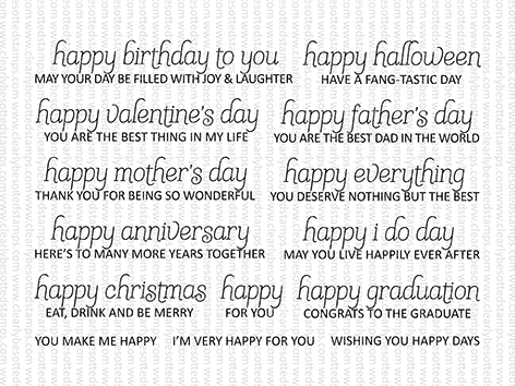 Clearly Besotted HAPPY EVERYTHING Clear Stamps zoom image