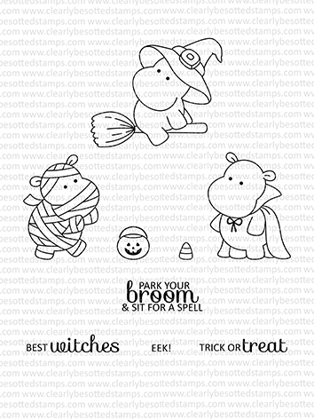 Clearly Besotted HIPPO HALLOWEEN Clear Stamps Preview Image