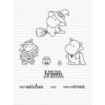 Clearly Besotted HIPPO HALLOWEEN Clear Stamps