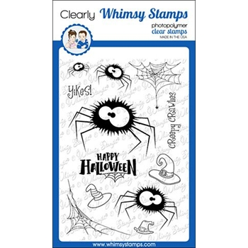 Whimsy Stamps FUZZY SPIDERS Clear Stamps CWSD285