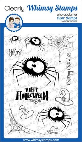 Whimsy Stamps FUZZY SPIDERS Clear Stamps CWSD285 zoom image
