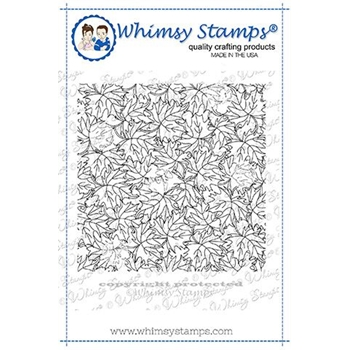 Whimsy Stamps FALL LEAVES  Background Cling Stamp DDB0031