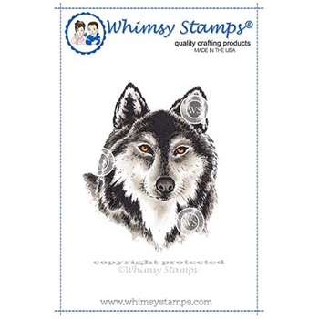 Whimsy Stamps WOLF HEAD Cling Stamp DA1124