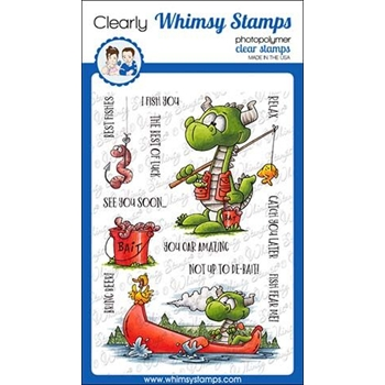 Whimsy Stamps FISHING DRAGONS Clear Stamps DP1024
