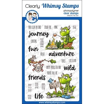 Whimsy Stamps CAMPING DRAGON Clear Stamps DP1023