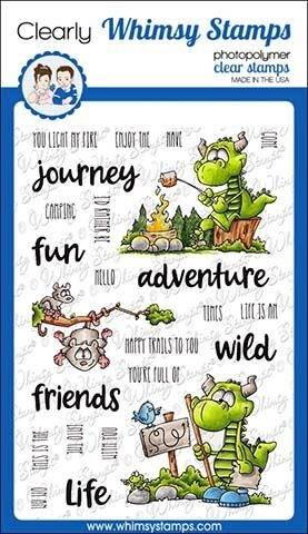 Whimsy Stamps CAMPING DRAGON Clear Stamps DP1023 zoom image