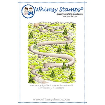 Whimsy Stamps PATH IN THE WOODS Background Cling Stamp DP1022