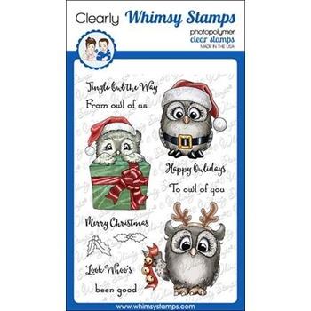 Whimsy Stamps HAPPY OWLIDAYS Clear Stamps C1344