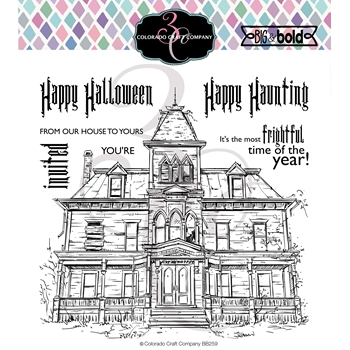 Colorado Craft Company Big and Bold HAUNTED HOUSE Clear Stamps BB259