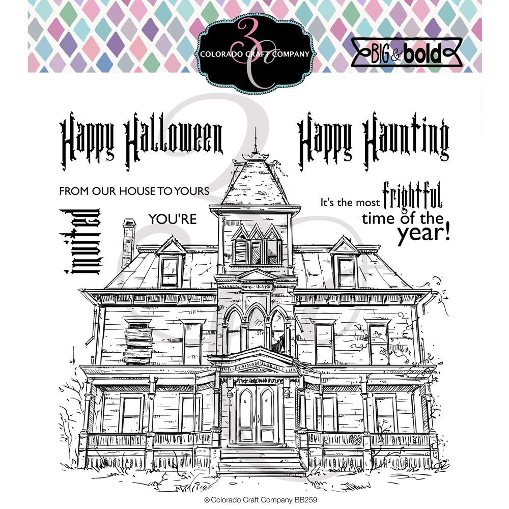 Colorado Craft Company Big and Bold HAUNTED HOUSE Clear Stamps BB259 zoom image