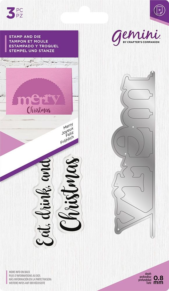 Crafter's Companion MERRY Gemini Edgeable Stamp And Die Set gem-std-mer zoom image