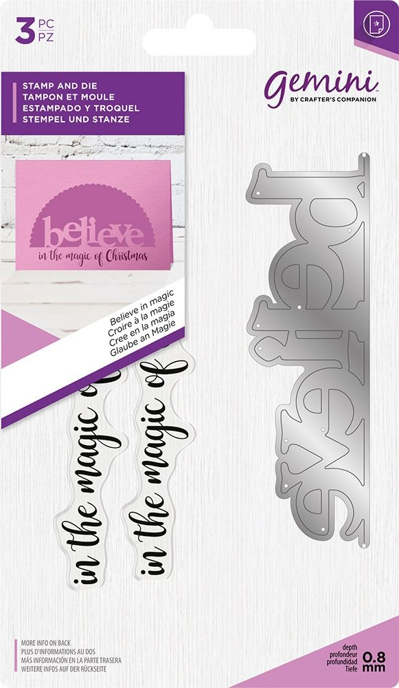 Crafter's Companion BELIEVE IN MAGIC Gemini Edgeable Stamp And Die Set gem-std-bim zoom image