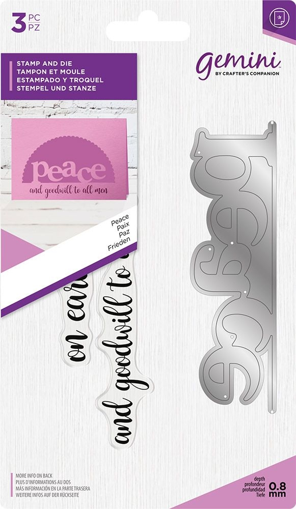 Crafter's Companion PEACE Gemini Edgeable Stamp And Die Set gem-std-pea zoom image