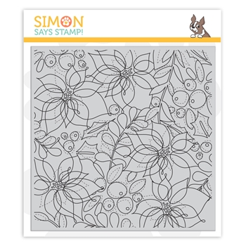 Simon Says Cling Stamp WINTER FLORAL MIX BACKGROUND sss102023