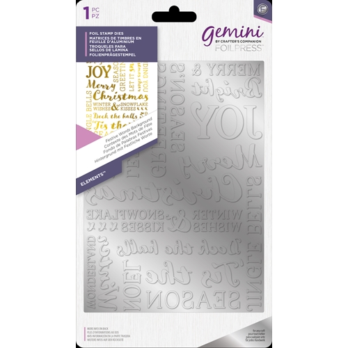 Crafter's Companion FESTIVE WORDS BACKGROUND Gemini Foil Stamp Die gem-fs-ele-fwba Preview Image