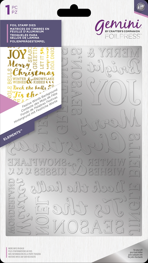 Crafter's Companion FESTIVE WORDS BACKGROUND Gemini Foil Stamp Die gem-fs-ele-fwba zoom image