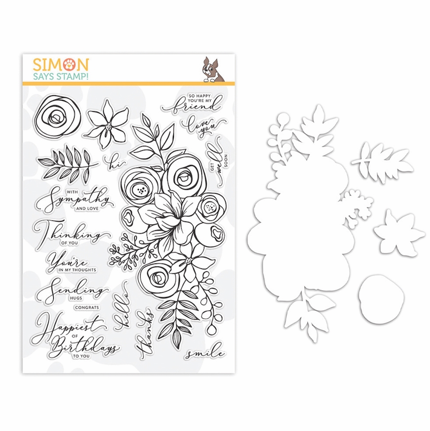 Simon Says Stamps and Dies SKETCHED FLOWERS set341sf STAMPtember 2019 zoom image
