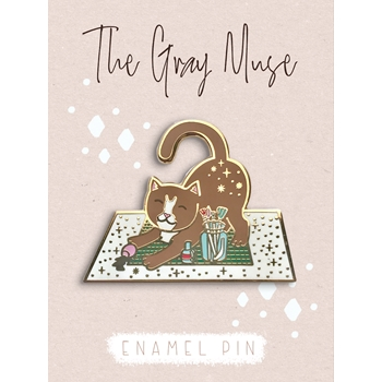 The Gray Muse KITTEN AND THE CRAFT MAT Enamel Pin tgm-a19-p61*