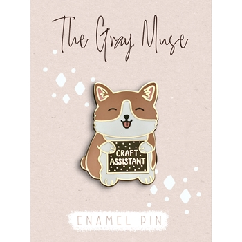 The Gray Muse THE CRAFT ASSISTANT PUPPY Enamel Pin tgm-a19-p63