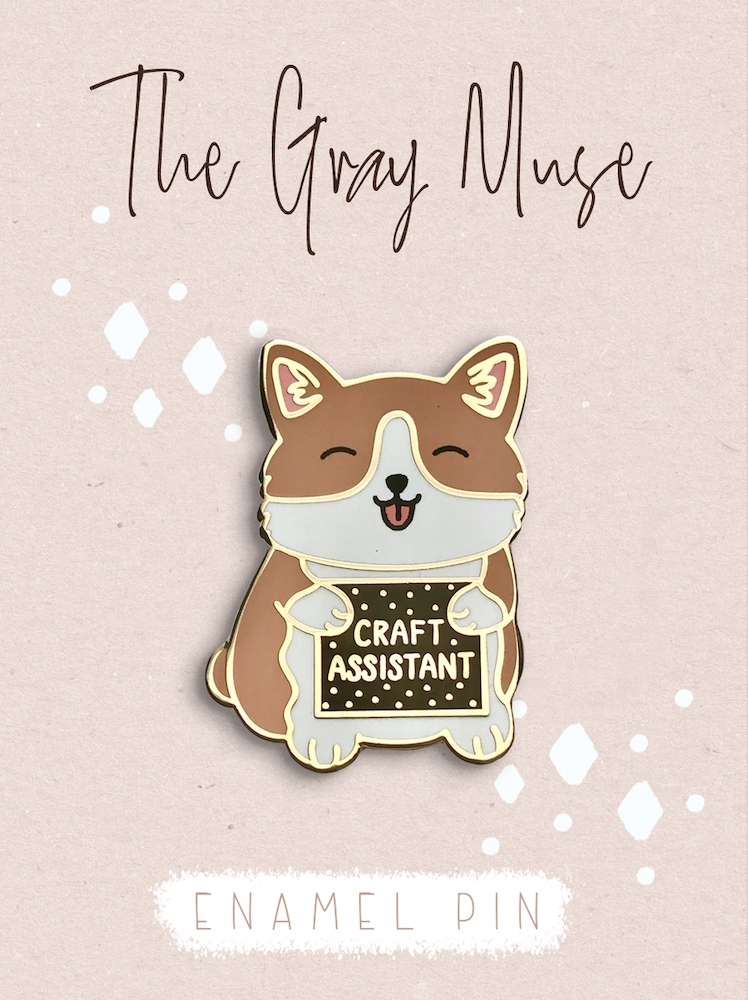 The Gray Muse THE CRAFT ASSISTANT PUPPY Enamel Pin tgm-a19-p63 zoom image