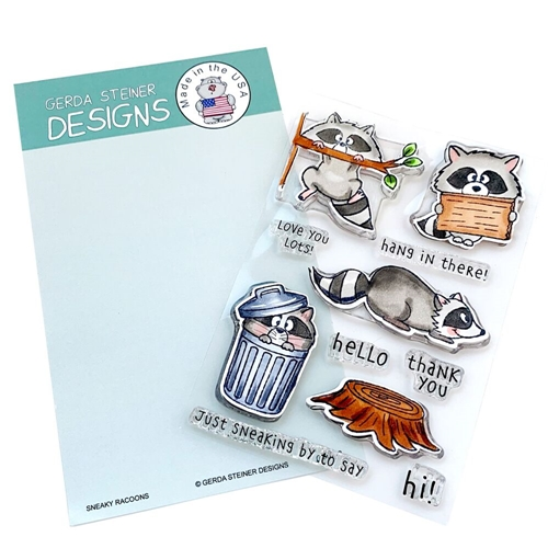 Gerda Steiner Designs SNEAKY RACCOONS Clear Stamp Set gsd702 Preview Image