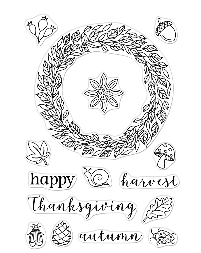 Hero Arts Clear Stamps AUTUMN WREATH CM397 zoom image
