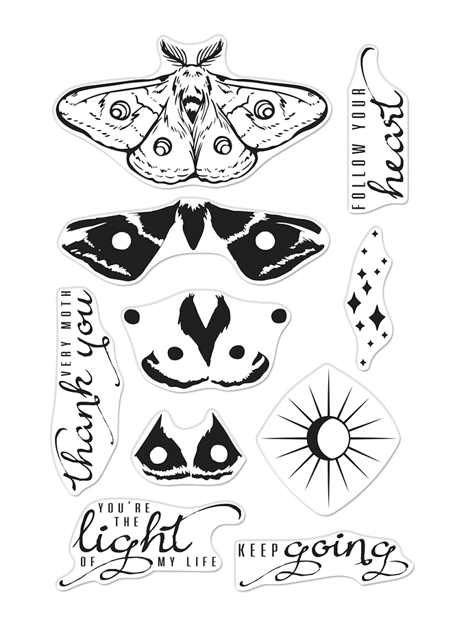Hero Arts Clear Stamps COLOR LAYERING MOTH CM393 zoom image