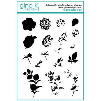 Gina K Designs POP ART FLOWERS Clear Stamps 0794