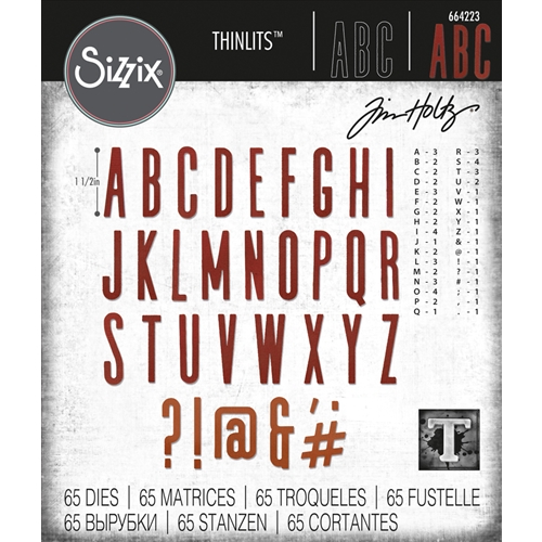 Tim Holtz Sizzix ALPHANUMERIC CLASSIC UPPER Thinlits Dies 664223 Preview Image