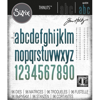 Tim Holtz Sizzix ALPHANUMERIC CLASSIC LOWER Thinlits Dies 664224