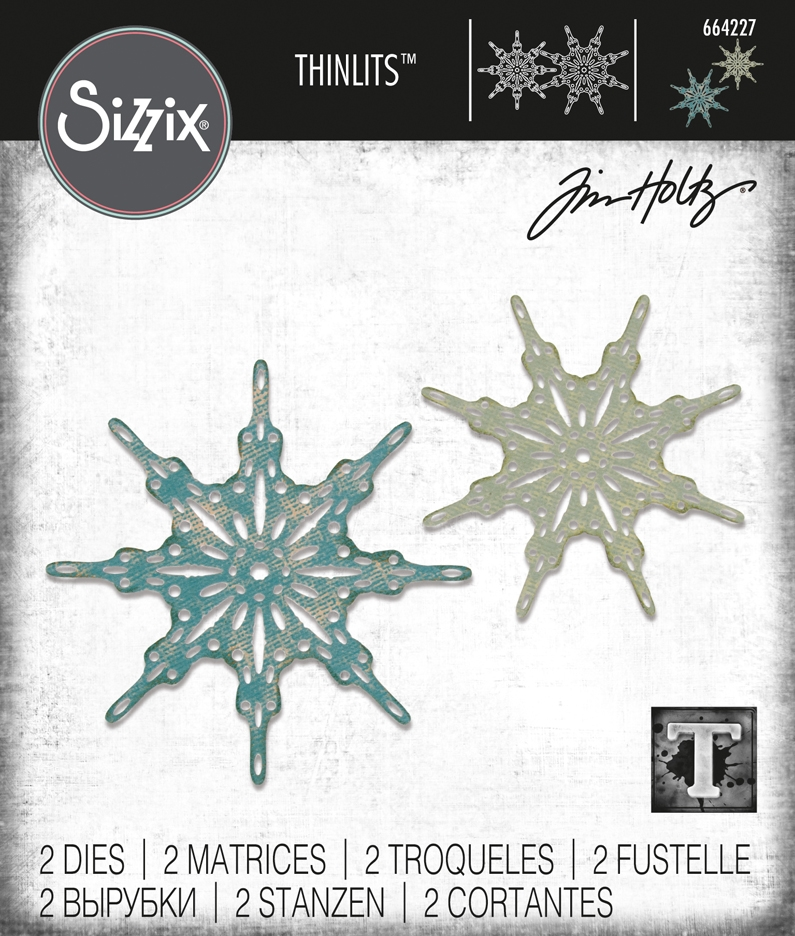 Tim Holtz Sizzix FANCIFUL SNOWFLAKES Thinlits Dies 664227 zoom image