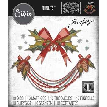 RESERVE Tim Holtz Sizzix DECK THE HALLS Colorize Thinlits Dies 664229