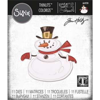 RESERVE Tim Holtz Sizzix MR. SNOWMAN Colorize Thinlits Dies 664230